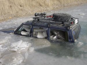 Jeep Cherokee in Icy Water