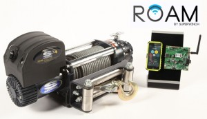 ROAM by Superwinch, a new patented concept that allows smartphone control of a winch. The system provides full control over power-in and power-out while taking advantage of the capabilities of a smartphone. ROAM creates a secure Wi-Fi network that provides the connectivity allowing two-way winch and smartphone communication.