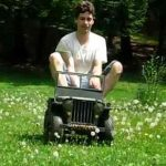 Bryan on his 1/3 scale mini WWII Willys Jeep