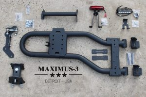 Maximus-3 JK Modular Tire Carrier Sport Package just before Installation
