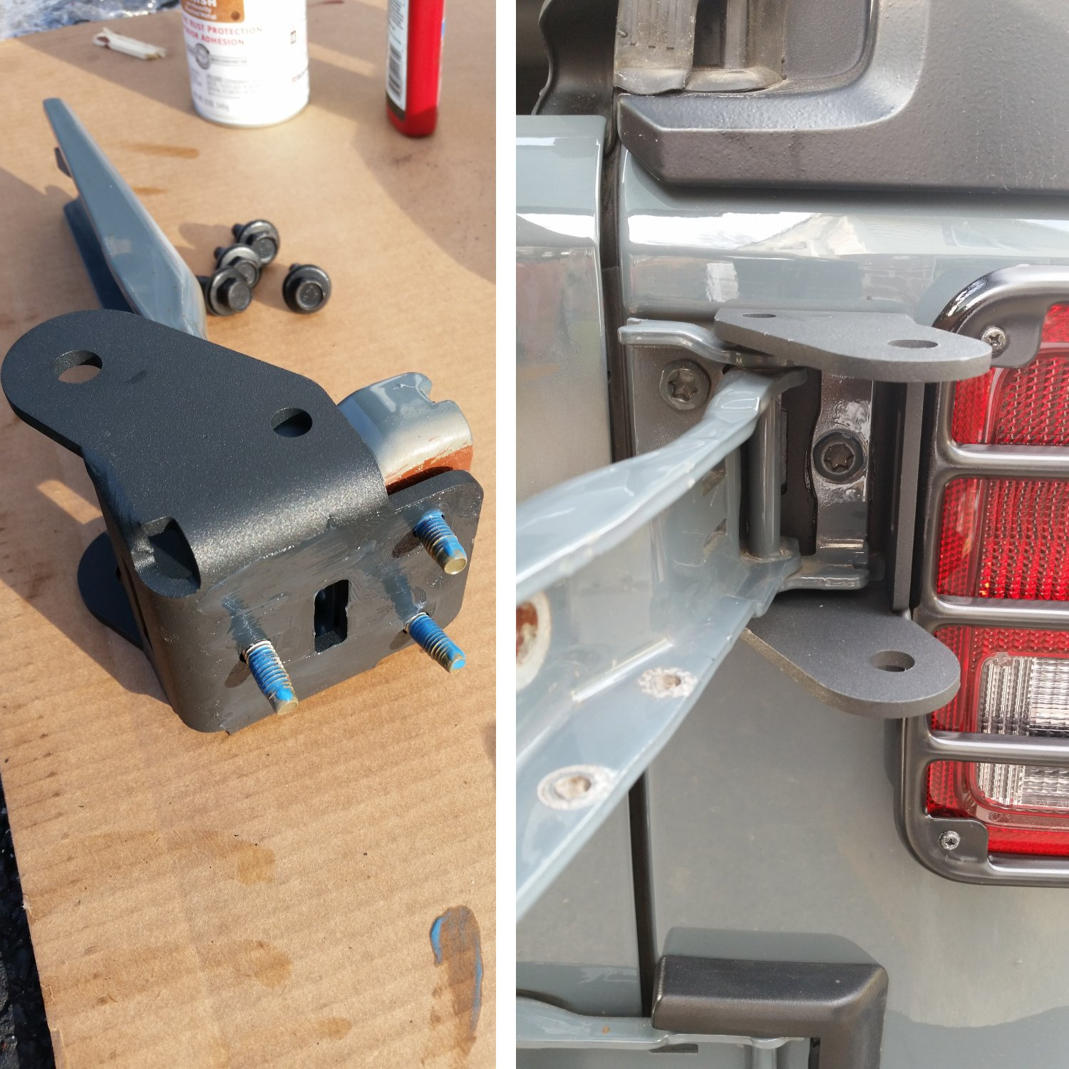 install hinge bracket with locktite