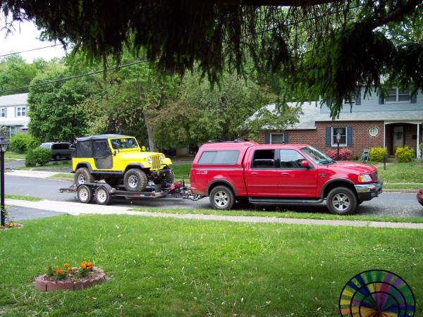 Towing a Jeep on a Trailer