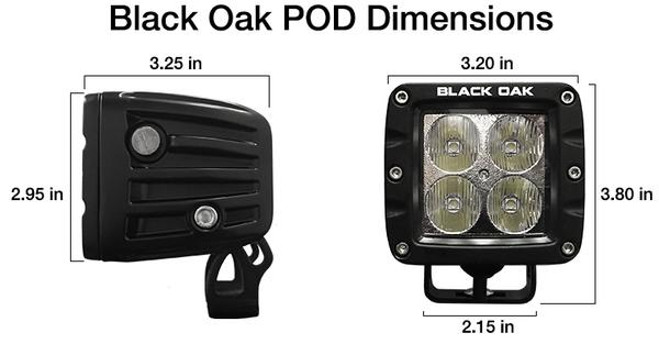 Black Oak LED POD dimensions